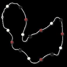 Серебряное ожерелье с цветными шариками 88 см