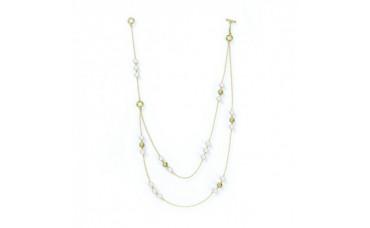 Ожерелье из жемчуга с золотыми шариками 46 см