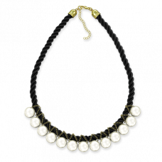 Ожерелье из белого жемчуга на чёрной нити 45 см
